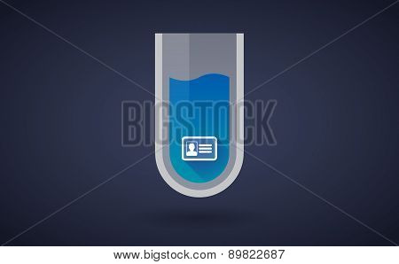 Blue Chemical Test Tube Icon With An Id Card