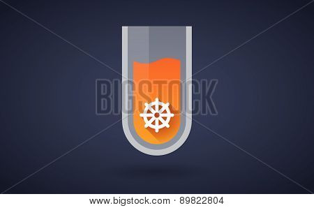 Orange Chemical Test Tube Icon With A Dharma Chakra