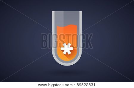 Orange Chemical Test Tube Icon With An Asterisk