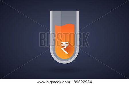 Orange Chemical Test Tube Icon With A Rupee Sign