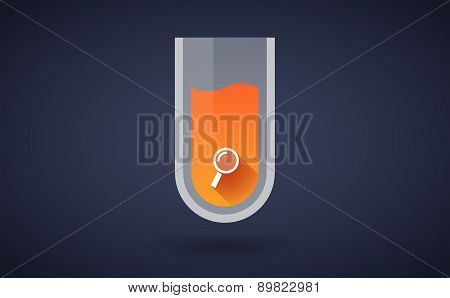 Orange Chemical Test Tube Icon With A Magnifier