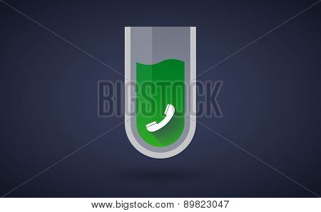 Green Chemical Test Tube Icon With A Phone