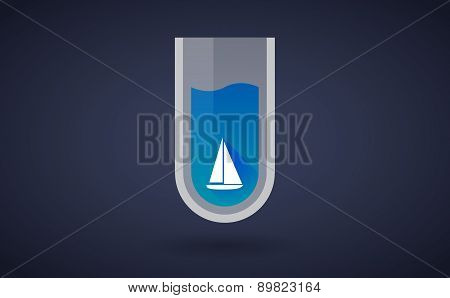 Blue Chemical Test Tube Icon With A Ship