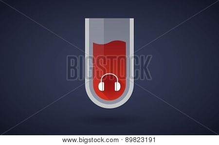 Red Test Tube Icon With A Earphones