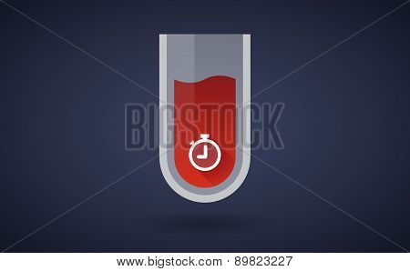 Red Test Tube Icon With A Timer