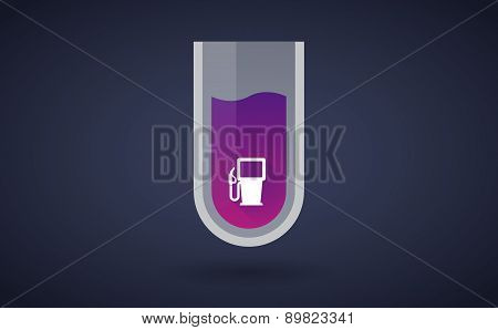 Purple Chemical Test Tube Icon With A Gas Station
