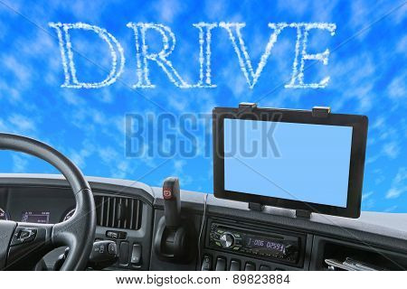 Dashboard Of The Truck With Drive Word In The Blue Sky