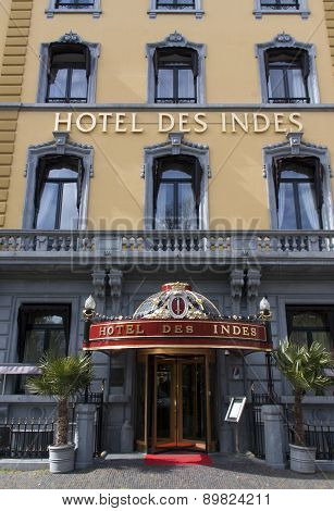 Facade Of The Famous Hotel Des Indes In The Hague Holland