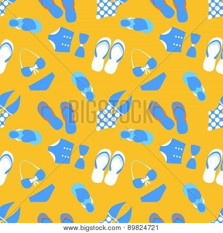 Woman vector seamless pattern with swim suit