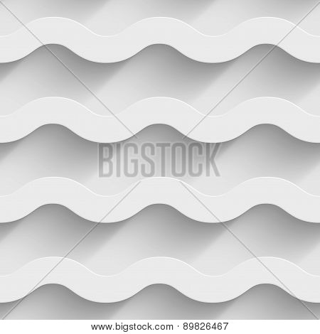 Abstract white paper 3d horizontal waves seamless background