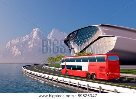 Bus and modern house on the beach.