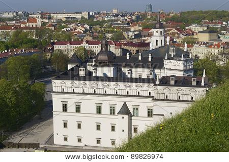 View to the Cathedral and Vilnius city from Gediminas hill in Vilnius, Lithuania.