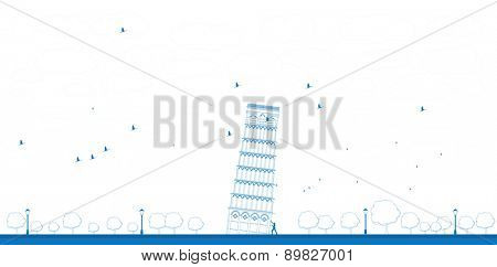 Outline Pisa Tower in blue color
