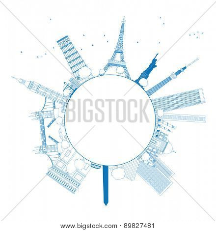 Outline Famous monuments and landmarks around the world. illustration with copy space