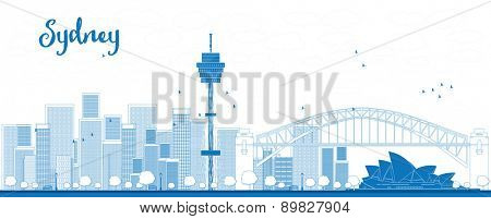 Outline Sydney City skyline with skyscrapers