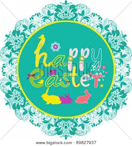 Colorful Happy Easter greeting card with flowers and rabbit elements composition. EPS10 vector file organized in layers for easy editing.