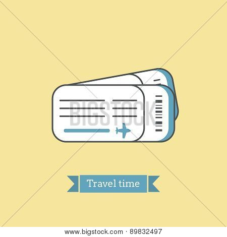Flat Line Icon Of  Plane Tickets. Infographic Icon, Abstract Design Pictogram.