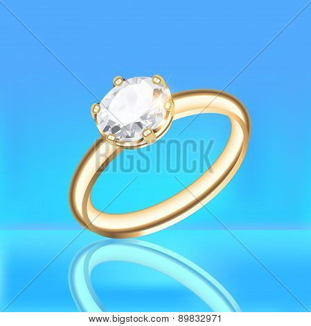 Background With Golden Diamond Ring On A Blue Background
