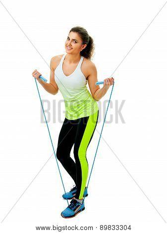 girl doing jump rope exercises