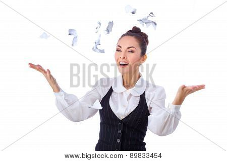 Breaking contract. Furious young woman throwing ripped up paperwork