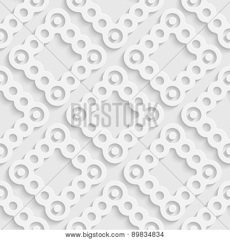 Seamless Ring Pattern. Vector Oriental Background. Regular White Texture