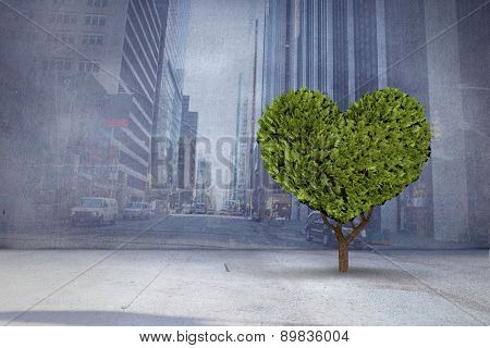 Heart shaped plant against urban projection on wall