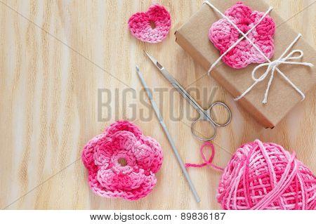 Handmade Pink Crochet Flowers, Heart For Decoration Of Gift