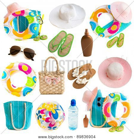 Photo collage of beach accessories and toys on a white background
