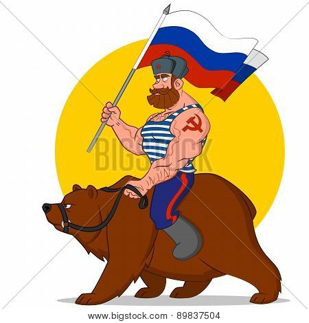 Russian riding a bear.