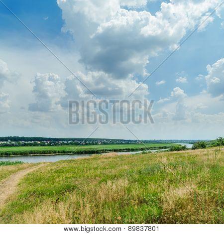 green landscape near river under cloudy sky
