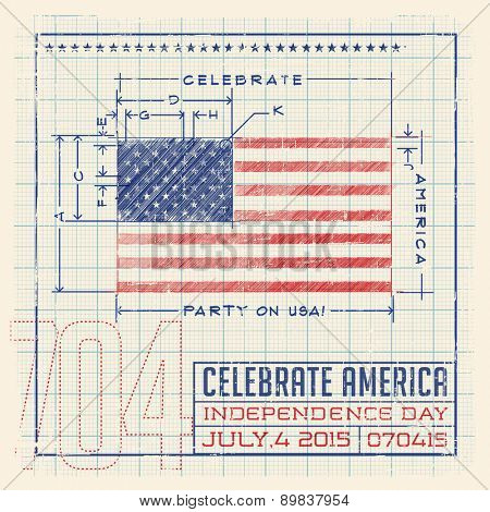 4th of July Flag United States flag design as a diagram, blueprint or infographic