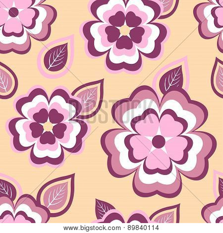 Trendy Seamless Pattern With Sakura And Leaves