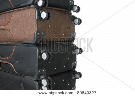 broken suitcases after fliying with space for text