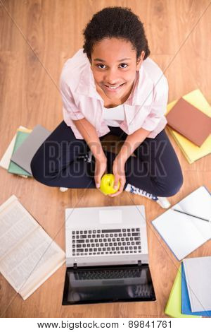 Schoolgirl With An Apple