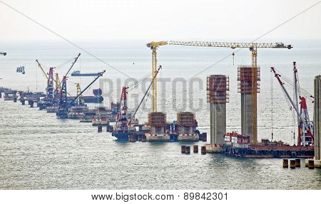 construction site of Hong Kong Zhuhai Macau Macao Bridge at day