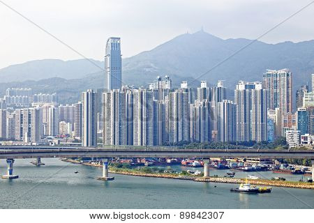 Downtown city, high speed train bridge in hong kong