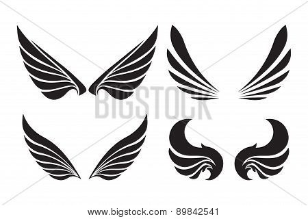 Set Of 4 Pair Of Decorative Vector Wings Isolated On White.