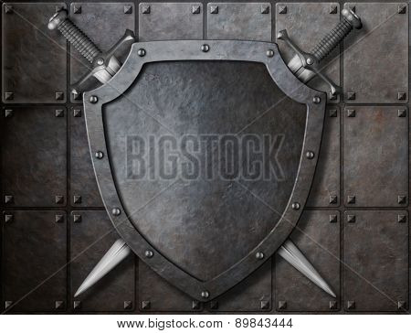 knight shield and two swords over armor plates