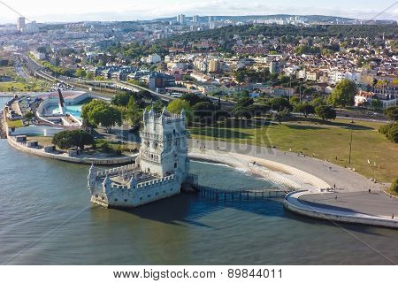 Aerial View Of Belem Tower - Torre De Belem  In Lisbon, Portugal