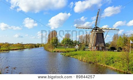Traditional windmill in the countryside near Amsterdam Netherlands