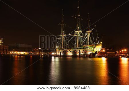The harbor from Amsterdam in the Netherlands by night