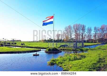 The dutch national flag in a typical dutch landscape