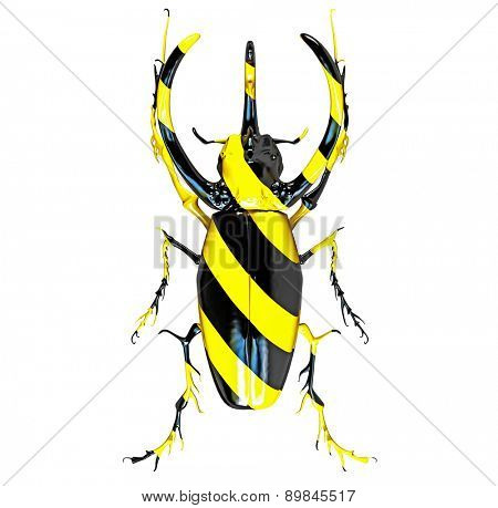 rhinoceros beetle, painted in black and yellow stripes. 3D concept