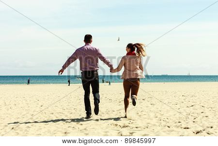 Romantic Couple In Love Having Fun On Beach