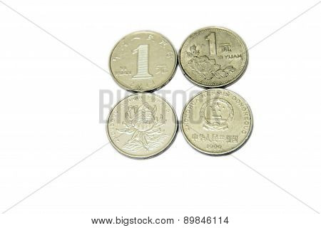 Chinese Yuan Isolated On The White Background