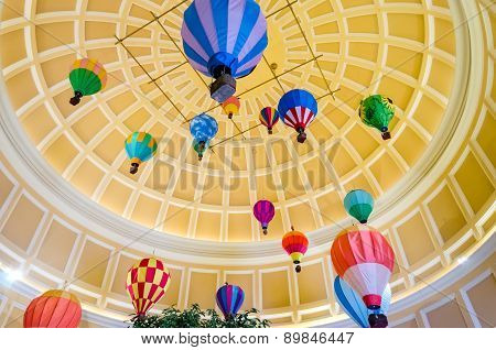 Hot Air Ballons Inside The Bellagio Luxury Hotel And Casino In Las Vegas