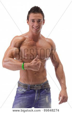Muscular Man Showing Thumbs Up Sign