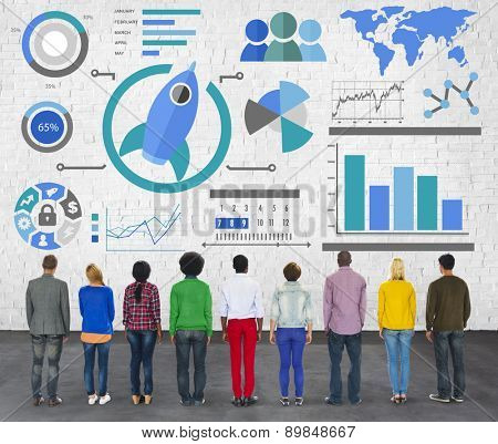 New Business Chart Innovation Teamwork Global Business Concept