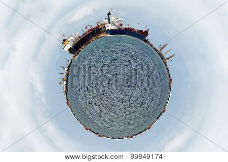 A world shape with harbor and ships
