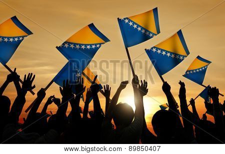 Silhouettes of People Holding Flag of Bosnia and Herzegovina